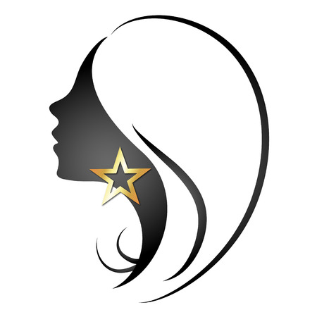 long black hair: Profile silhouette girls and stars vector