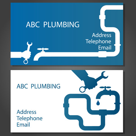 Business card to repair plumbing, vector Çizim