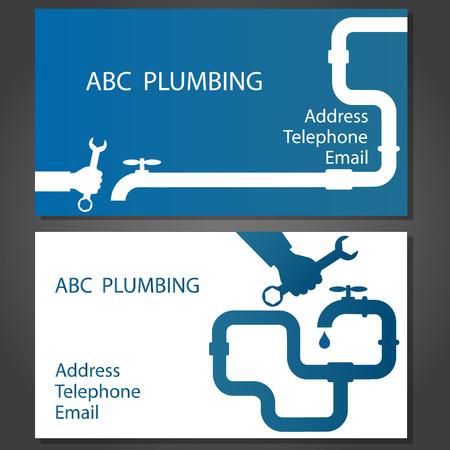 taps: Business card to repair plumbing, vector Illustration