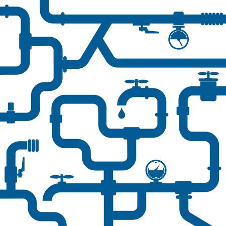 配管と蛇口修理の背景  イラスト・ベクター素材