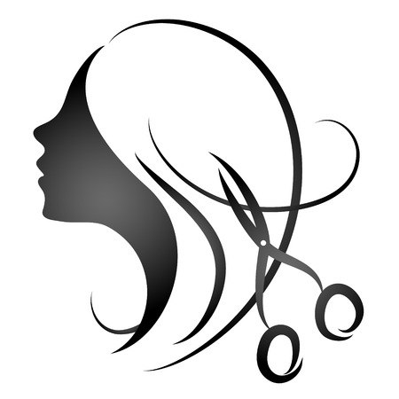 černé vlasy: Design pro kosmetický salon a holičství Ilustrace