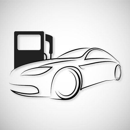 refueling: Silhouette cars and refueling Illustration