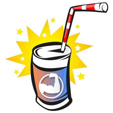 스포츠 에너지 음료와 은행, 실루엣 벡터 일러스트