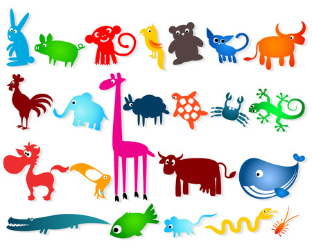 cartoony: conjunto de colorido animales animados vector