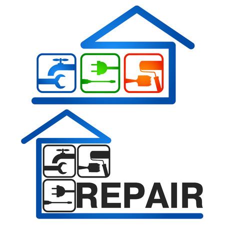 Reparatie van huizen vector ontwerp voor het bedrijfsleven