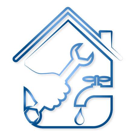 Diseño para la reparación de plomería en casa vector