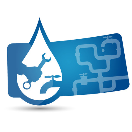 plumbing tools: advertising sticker to repair plumbing vector