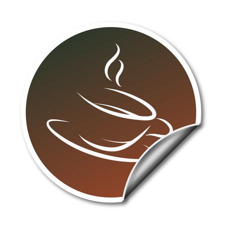 tasse caf�: Autocollants promotionnels avec vecteur tasse de caf�