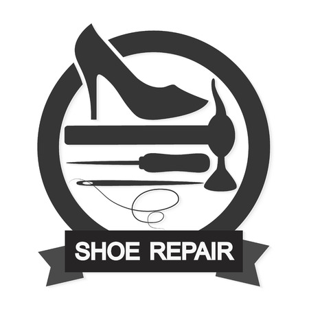 business shoes: Shoe repair business for the vector