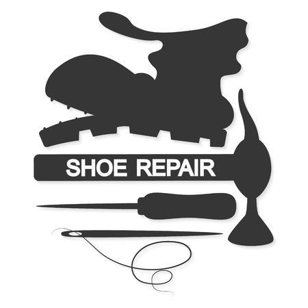 shoe repair: Shoe repair business for symbol vector