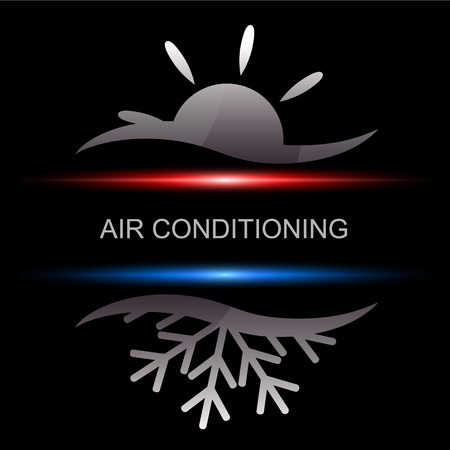 heating: Air conditioning design for business, vector