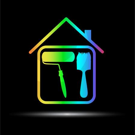 logotipo de construccion: Diseño emblema de negocio de pintura, vector