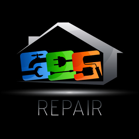 caretaker: emblem design for repair of houses, vector