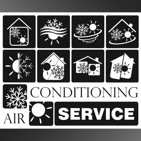 cooling system: Air Conditioning symbol vector set for business Illustration