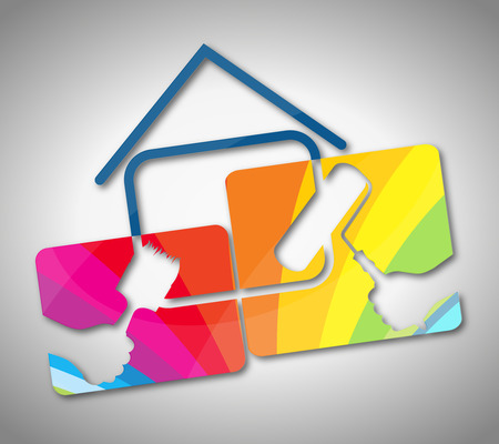 painting house: Symbol for house painting business, vector