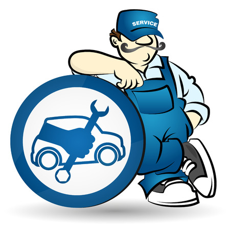 spares: Mechanic car repair for the vector Illustration