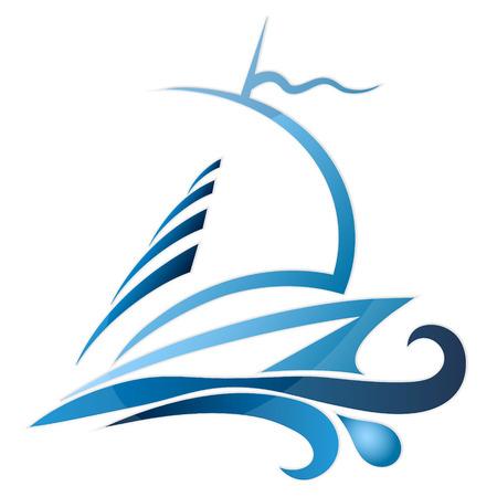 deportes nauticos: Yate de deporte en ondas silueta de un vector
