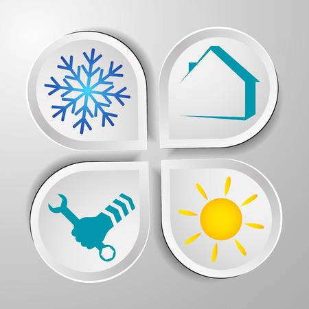 llave de sol: Símbolos de reparación de aire acondicionado para la visita, vector