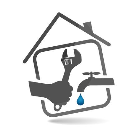 fontanero: Plomer�a reparaci�n s�mbolo para los negocios, vector Vectores