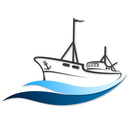 fischerei: Fischerboot Symbol für Geschäftsreisende Illustration