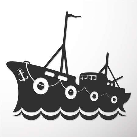 fisheries: Silhouette of fishing trawler for business, vector