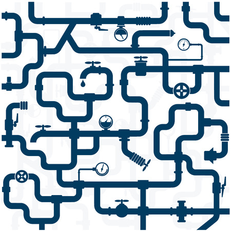 conduit: background of plumbing and taps, repair vector Illustration