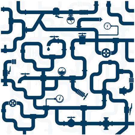 background of plumbing and taps, repair vector Vettoriali
