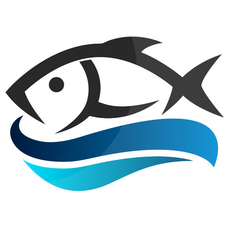 salmon fish: Fish on waves symbols for the business, vector