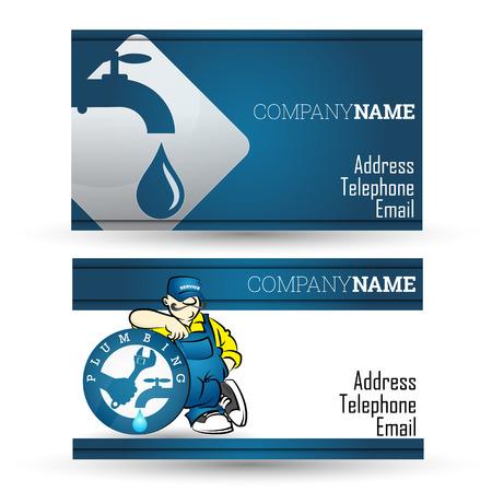 配管の修理およびパイプライン事業のビジネス カード  イラスト・ベクター素材