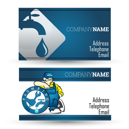 Business card for plumbing repairs and pipeline business Illustration