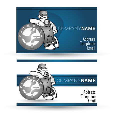 plumbing tools: Business card for plumbing, repair pipeline vector
