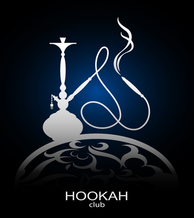 smoking pipe: Hookah flyer vector for cafe and a hookah pipe