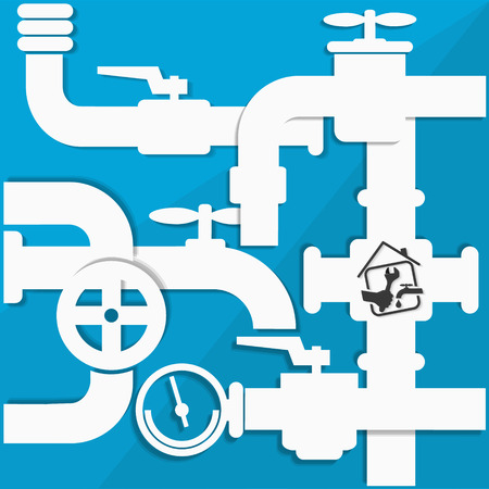 water pipes: Water pipes and taps, plumbing repairs vector