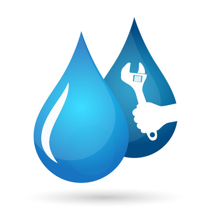 waterpipe: Drops of water and hand with wrench, plumbing repair symbol