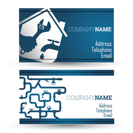 plumber tools: Business card repair of plumbing and sanitary ware, vector Illustration