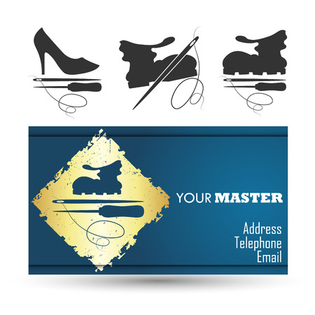 Business card for the master shoe repair business, vector