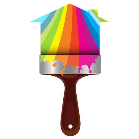 dyeing: Brush for painting houses, color ink of vector