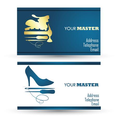 shoe repair: Business card for shoe repair business, vector