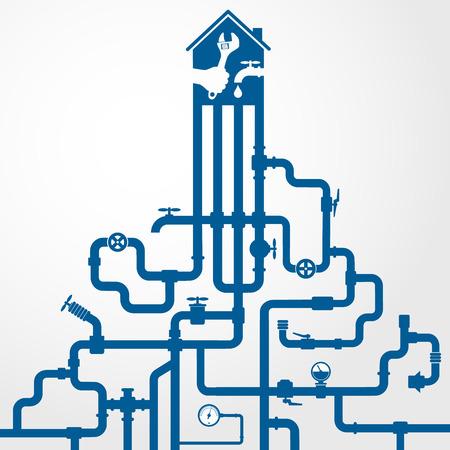 ca�er�as: La reparaci�n de las tuber�as de agua y alcantarillado de vectores
