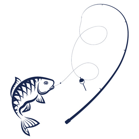 Fish on the hook and rod silhouette vector Çizim