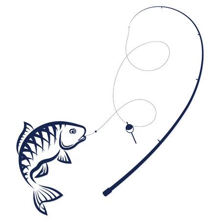 Vis aan de haak en staaf silhouet vector Stock Illustratie