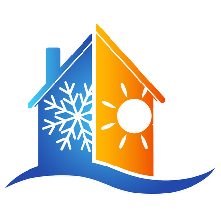 cold weather: Air conditioning at home for a vector Illustration