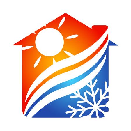 sistemas: Sistema de aire acondicionado en el símbolo del hogar para los negocios Vectores