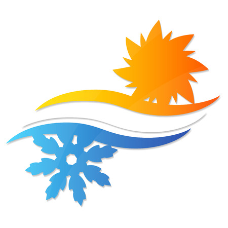 ventilation: Sun and snowflake symbol for businesses Illustration