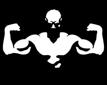 muskeltraining: Mann mit Muskeln für Fitnessraum und Fitness-Vektor- Illustration