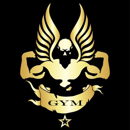 silueta hombre: Silueta Bodybuilder por gimnasia y fitness vectorial Vectores
