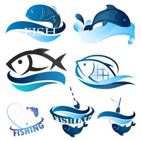 fishery: Set of images of fish and fishing Stock Photo