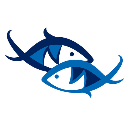 blue fish: Two blue fish symbol to vector Illustration