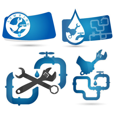business services: Set of symbols for repair plumbing and water supply systems illustration