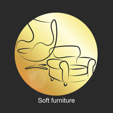 upholstered: Design symbol for upholstered furniture, vector